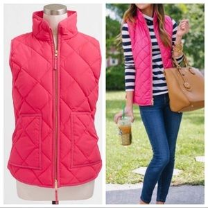 J Crew diamond quilted puffer puffy vest pink down
